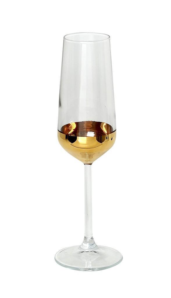Ποτήρι σαμπάνιας flute champagne 195ml διάφανο/χρυσό 4.5×4.5×22.5cm Espiel RAB115K6