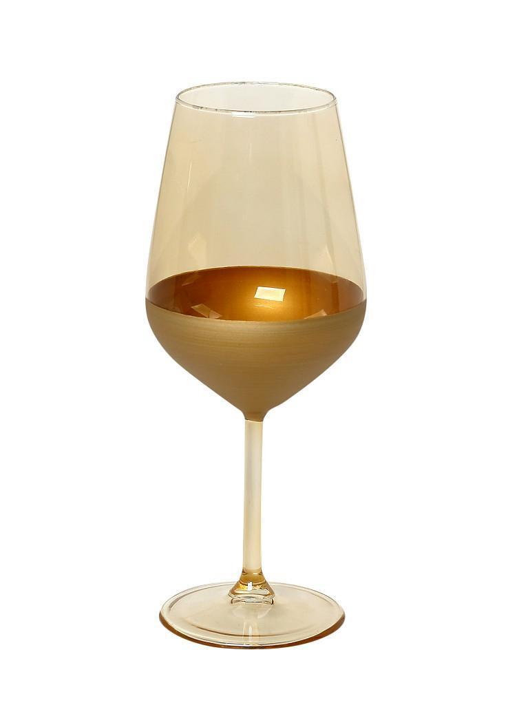 Ποτήρι κολωνάτο κρασιού 490ml μπεζ/χρυσό 6.4×6.4x22cm Espiel RAB140K6