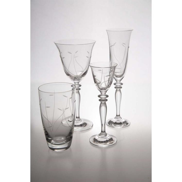 S/6 Ποτήρι κρασιού καθιστό Μυρτώ κολωνάτο κρυστάλλινο διάφανο