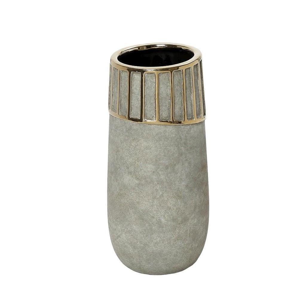 Βάζο διακοσμητικό κεραμικό γκρι/χρυσό 13.5×13.5×32.5cm Espiel VES210