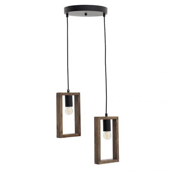 Φωτιστικό οροφής 2φωτο κρεμαστό μεταλλικό/ξύλινο μαύρο/natural 30x30x70cm Inart 6-10-584-0029