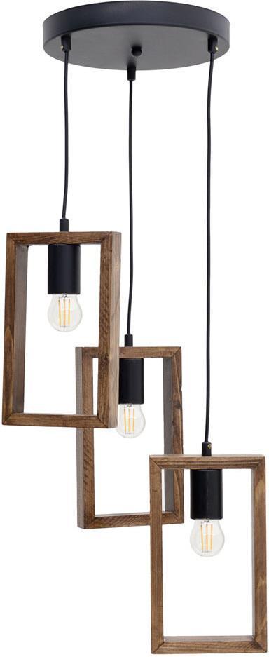 Φωτιστικό οροφής 3φωτο κρεμαστό μεταλλικό/ξύλινο μαύρο/natural 35x35x80cm Inart 6-10-584-0030