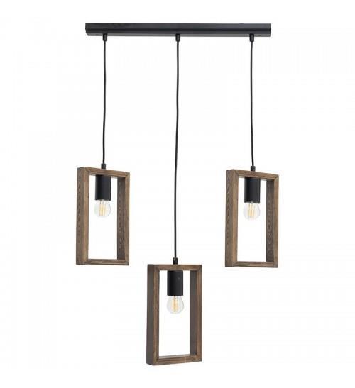 Φωτιστικό οροφής 3φωτο κρεμαστό μεταλλικό/ξύλινο μαύρο/natural 55x22x70cm Inart 6-10-584-0031