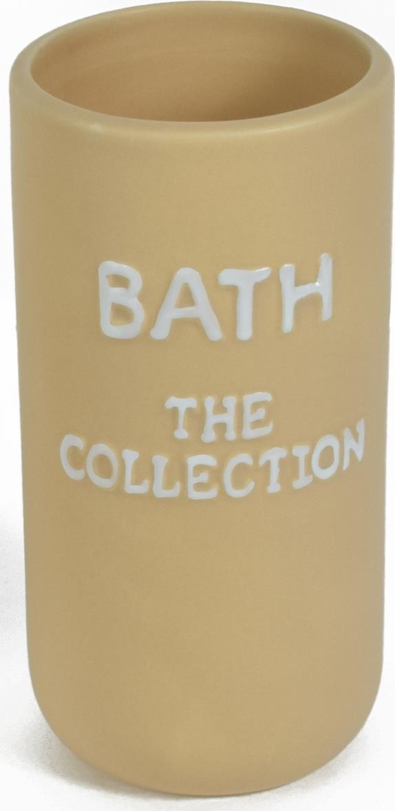 Ποτηράκι μπάνιου The Collection κεραμικό μπεζ 6.7×6.7x13cm Estia 02-6341