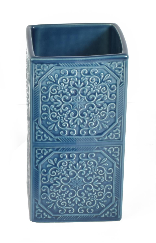 Ποτηράκι μπάνιου Square κεραμικό μπλε 6.5×6.5×12.5cm Estia 02-6549