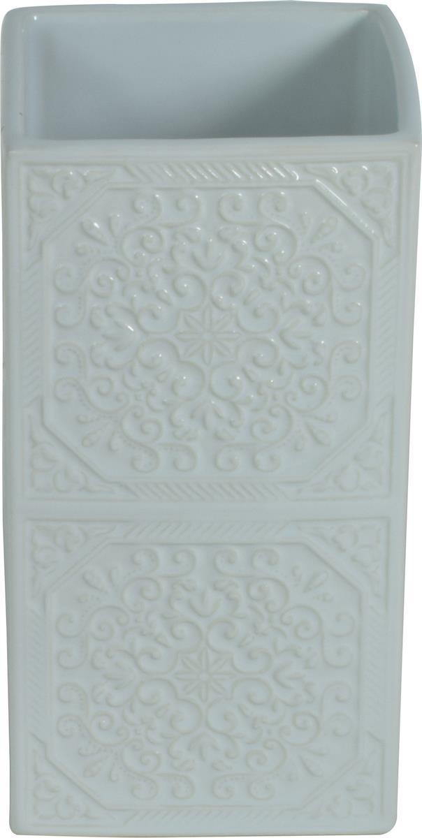 Ποτηράκι μπάνιου Square κεραμικό λευκό 6.5×6.5×12.5cm Estia 02-6570