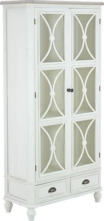 Βιτρίνα ξύλινη/γυάλινη λευκή 80x35160cm Inart 3-50-390-0023