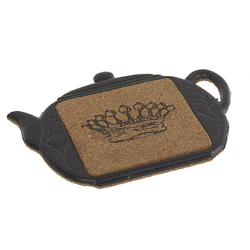 Σουπλά για κατσαρόλα μεταλλικό με φελλό και σχέδιο 'Κορόνα' σε καφέ χρώμα, σε διάσταση: 17x1x14 cm