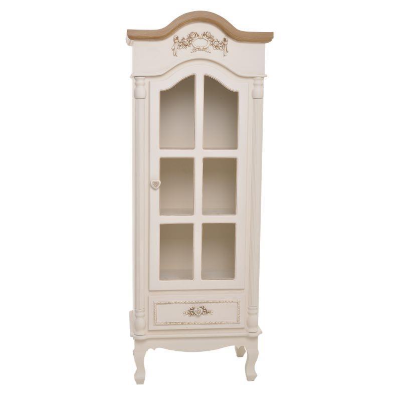 Βιτρίνα ξύλινη λευκή/μπέζ 55x35x146cm Inart 3-50-147-0039