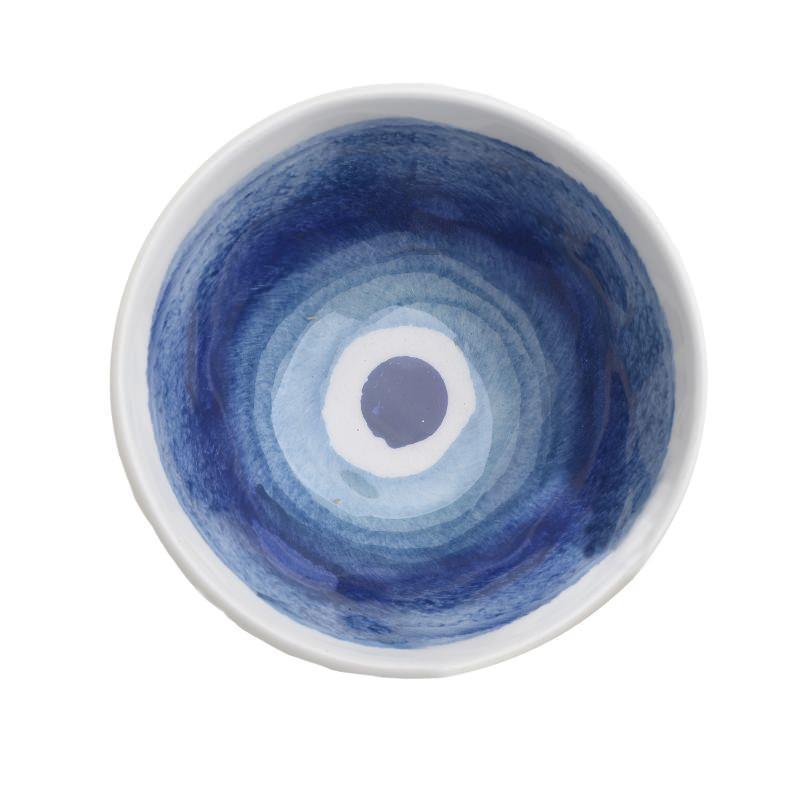 Μπώλ δημητριακών κεραμικό λευκό/μπλέ Inart 3-60-017-0018