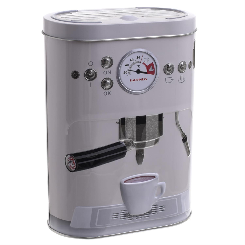 Δοχείο με καπάκι espresso μεταλλικό εκρού 13.5×7.5x19cm Inart 6-60-229-0002
