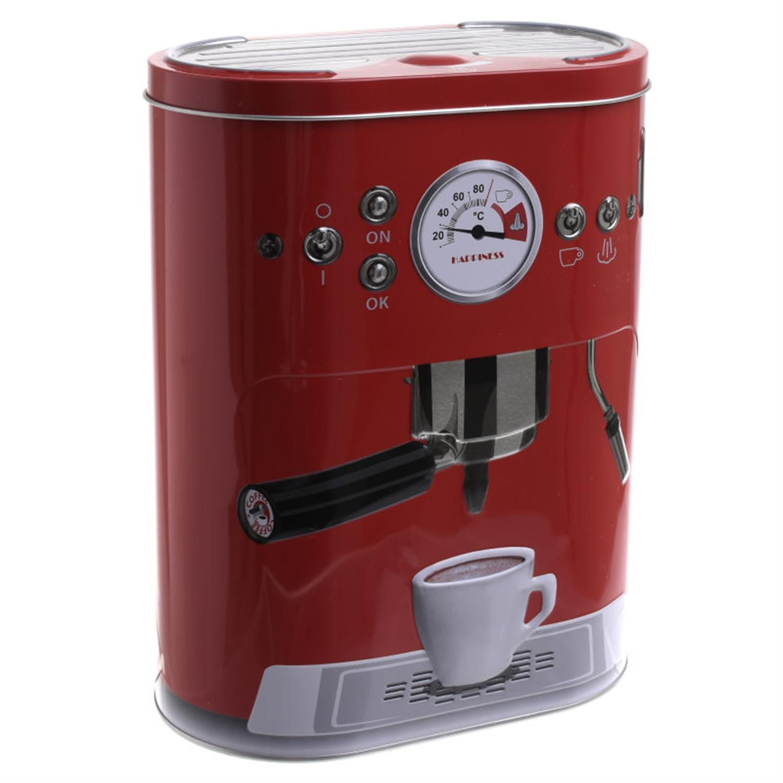 Δοχείο με καπάκι espresso μεταλλικό κόκκινο 17x10x22cm Inart 6-60-229-0003