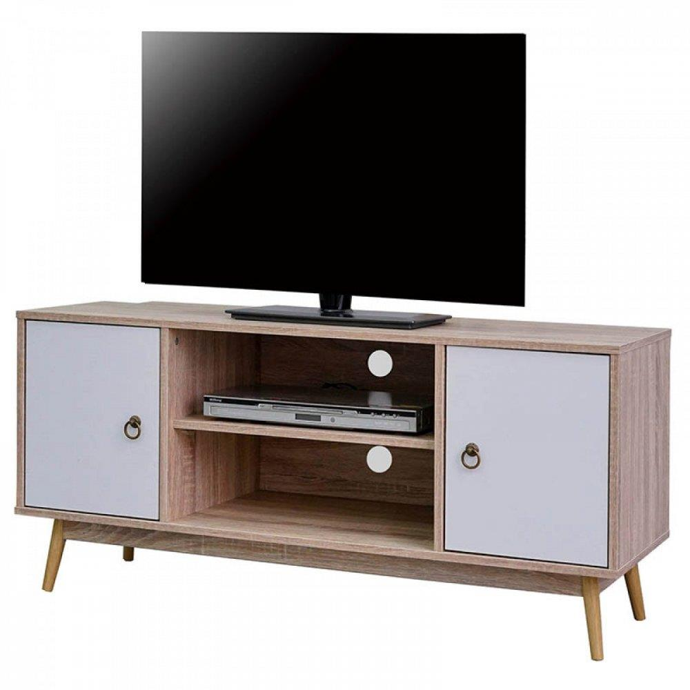 Έπιπλο τηλεόρασης με επένδυση φιλμ μελαμίνης καφέ/λευκό 120x40x56cm Home Plus 01.01.0997