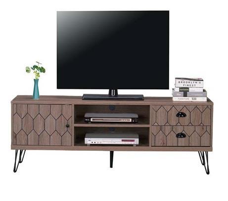Έπιπλο τηλεόρασης Fidel ξύλινο/μεταλλικό καφέ/μαύρο 160x39x51cm Home Plus 01.01.1121