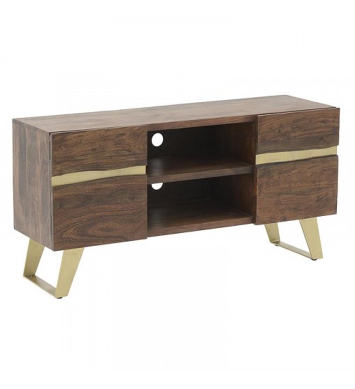 Έπιπλο tv ξύλινο καφέ/χρυσό 130x40x67cm Inart 7-50-350-0001