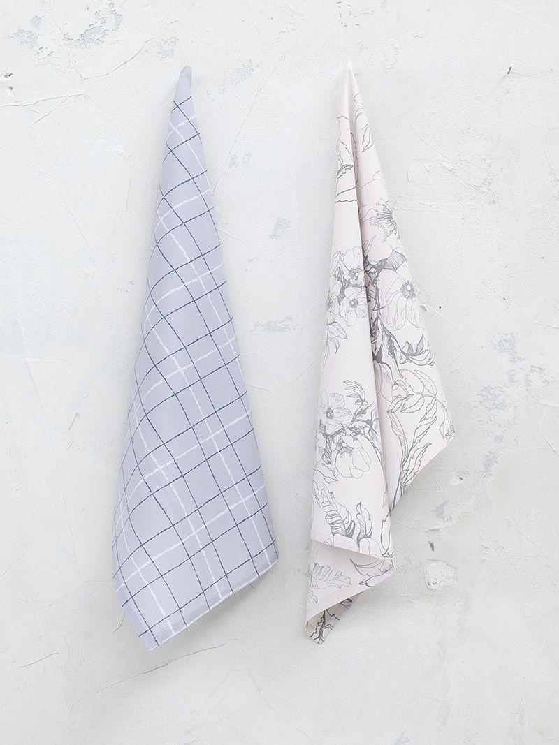 S/2 Πετσέτες κουζίνας Floret γκρι 50x70cm Nima 23279