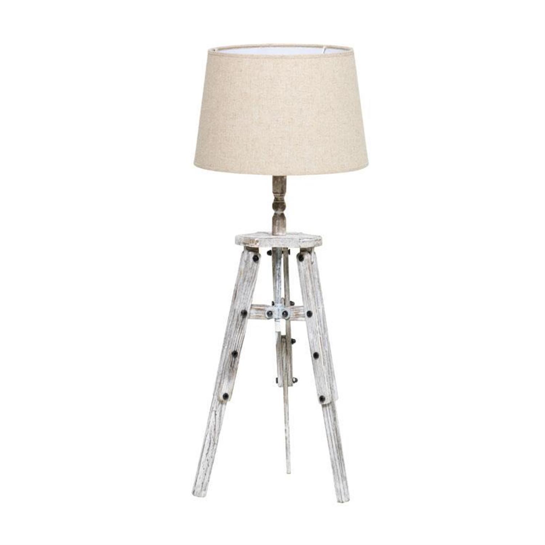 Λάμπα επιτραπέζια ξύλινος τρίποδας αντικέ λευκό Δ30x76cm Inart 3-15-716-0136