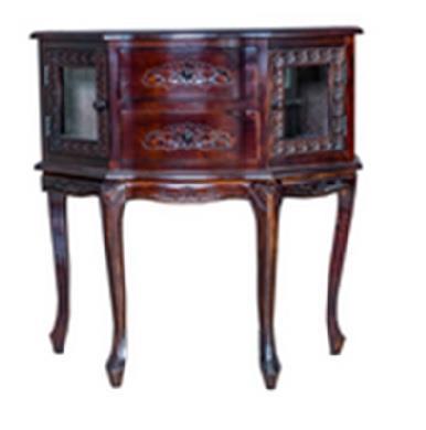 Βιτρίνα/Μπαράκι με 2 πορτάκια και 2 συρτάρια ξύλινη σκούρο καρυδί 85x35x83cm Home Plus 01.01.1130