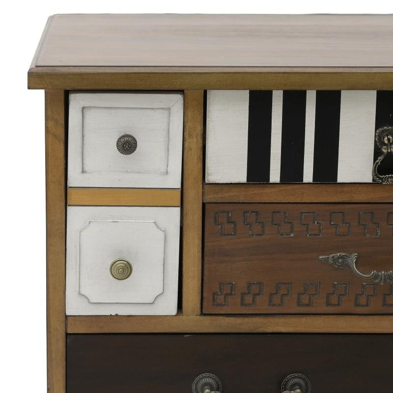 Συρταριέρα ξύλινη πολύχρωμα συρτάρια 108x40x77cm Inart 3-50-090-0146
