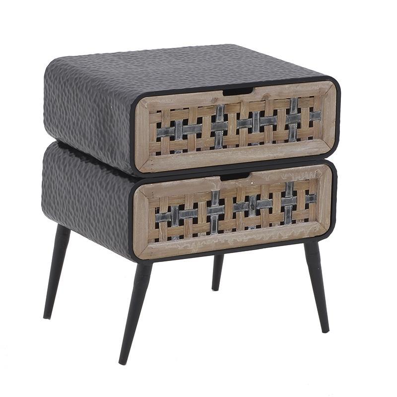 Συρταριέρα μεταλλική/ξύλινη μαύρη/natural 50x40x60cm Inart 3-50-750-0002