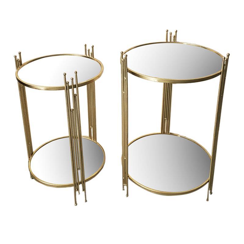 S/2 Τραπέζι μεταλλικό/καθρέπτη χρυσό 42x67cm Inart 3-50-161-0003