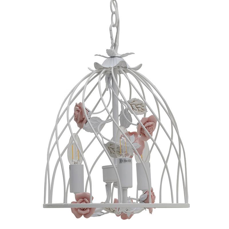 Φωτιστικό οροφής 3φωτο μεταλλικό λευκό/ροζ Inart 3-10-048-0003