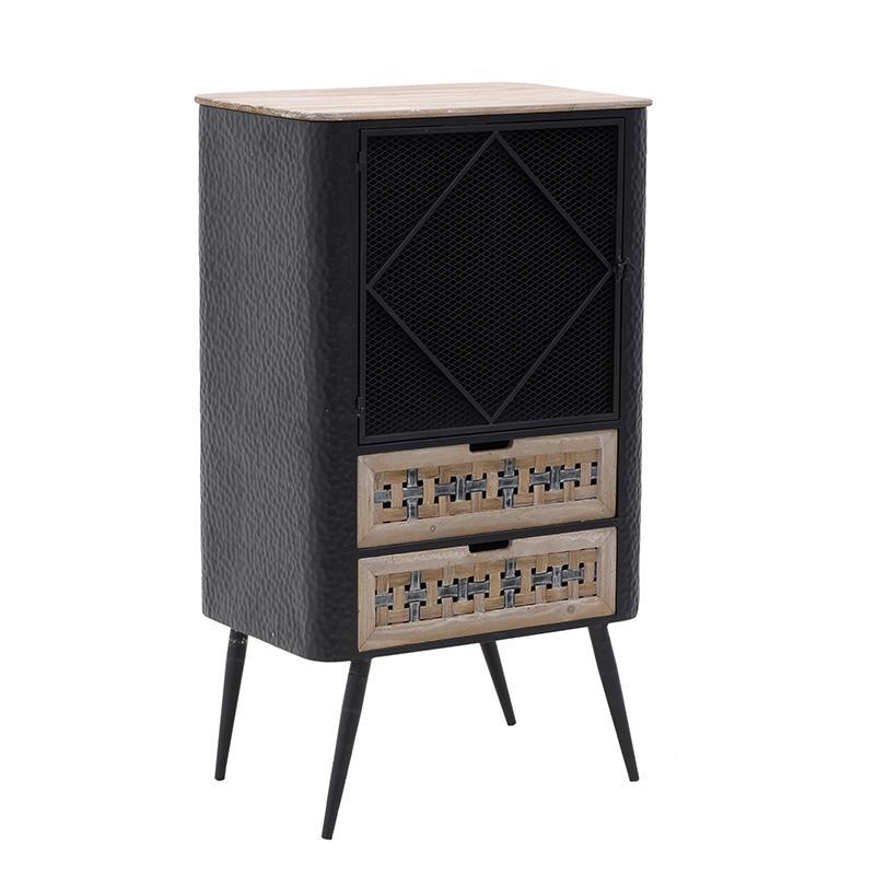 Βιτρίνα μεταλλική/ξύλινη μαύρη/natural 63x44x110cm Inart 3-50-750-0005
