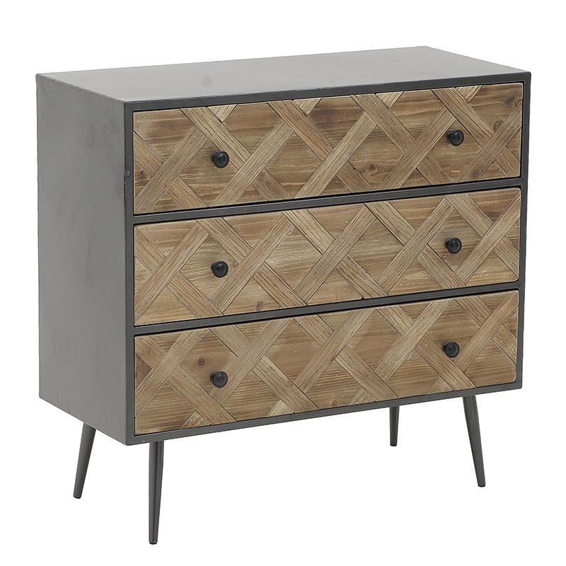 Συρταριέρα ξύλινη/μεταλλική natural/μαύρη 80x35x72cm Inart 3-50-188-0009