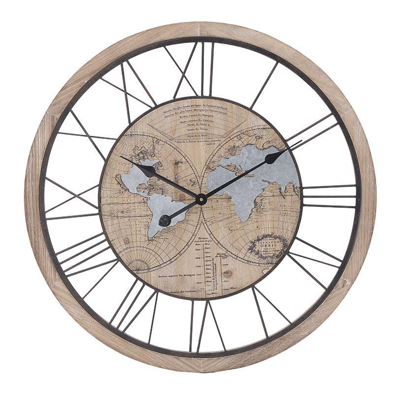 Ρολόι τοίχου μεταλλικό/ξύλινο natural/γκρι 70x5cm Inart 3-20-484-0450