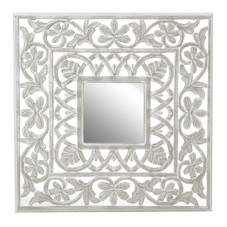 Καθρέπτης ξύλινος αντικέ μπεζ 80x3x80cm Inart 3-95-536-0010