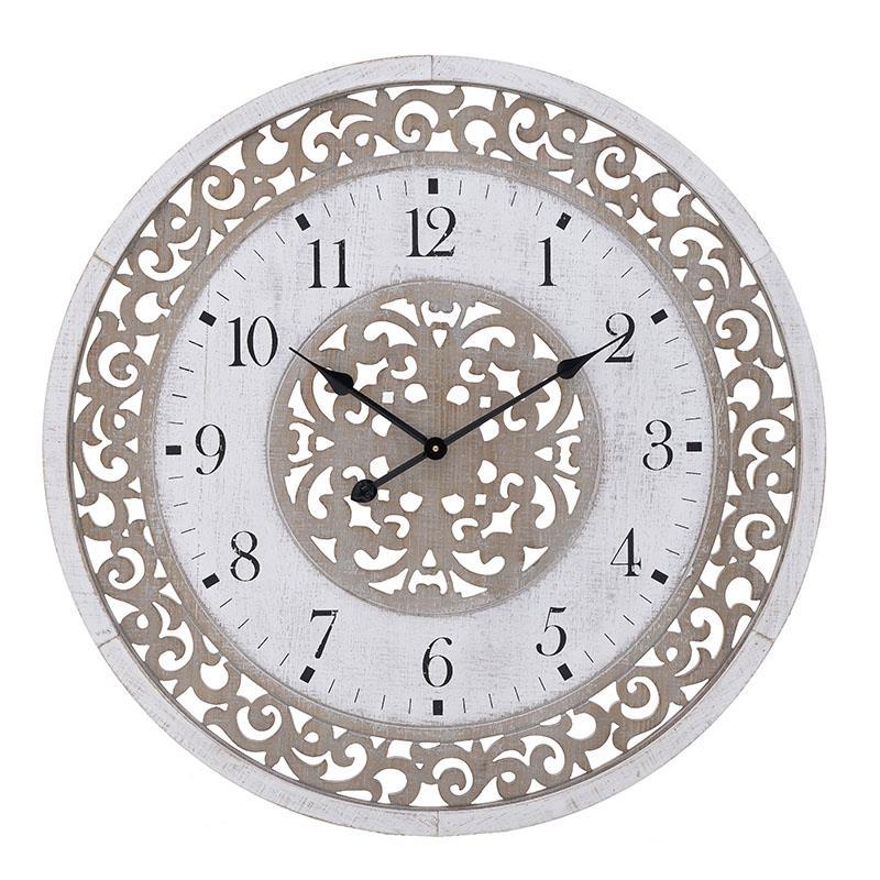 Ρολόι τοίχου ξύλινο natural/λευκό 80x5cm Inart 3-20-484-0455