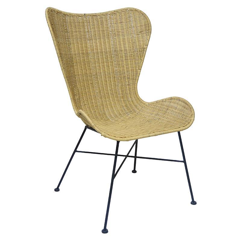 Καρέκλα μεταλλική/rattan μαξιλάρι natural 67x73x105cm Inart 3-50-646-0001