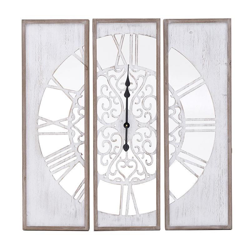 Ρολόι τοίχου ξύλινο λευκό/natural 80x5x80cm Inart 3-20-484-0457