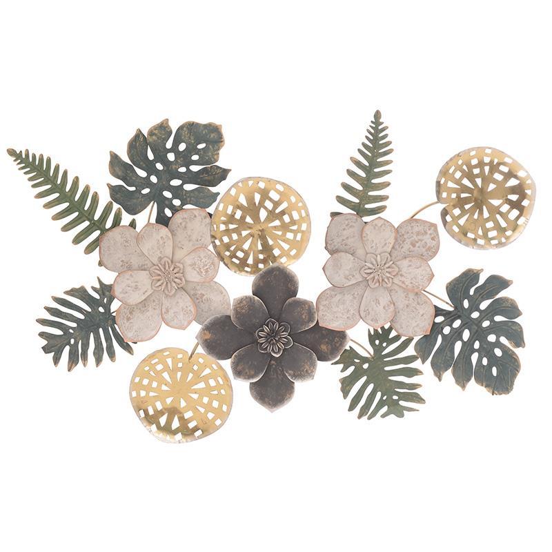 Λουλούδια διακοσμητικό τοίχου μεταλλικά 95x5x63cm Inart 3-70-447-0133