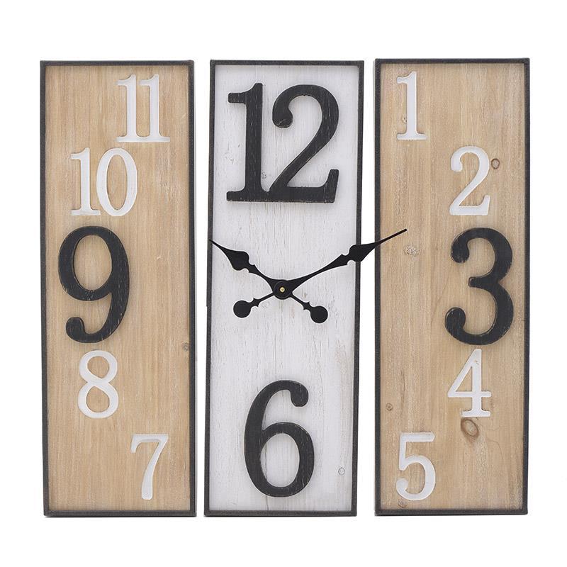 Ρολόι τοίχου ξύλινο/μεταλλικό λευκό/natural 60x5x60cm Inart 3-20-484-0458