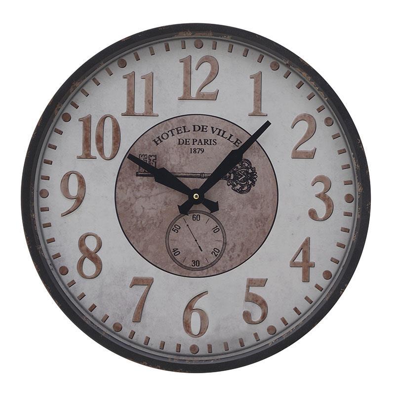 Ρολόι τοίχου μεταλλικό μαύρο/λευκό 46x6cm Inart 3-20-773-0330