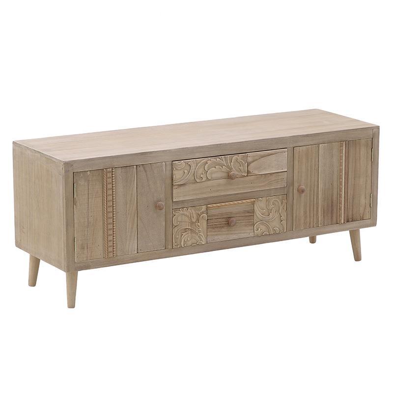 Έπιπλο tv ξύλινο natural 120x38x57cm Inart 3-50-786-0005