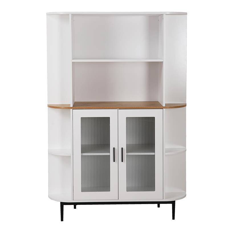 Βιτρίνα ξύλινη λευκή/natural 110x38x160cm Inart 3-50-227-0013
