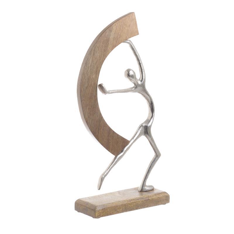 Χορευτής διακοσμητικό μεταλλικός/ξύλινος ασημί/natural 21x8x37cm Inart 3-70-357-0114