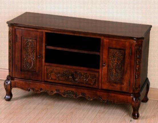 Τραπέζι τηλεόρασης με 2 πορτάκια και 1 συρτάρι ξύλινο σκούρο καρυδί 107×43.5x55cm Home Plus 01.01.0240