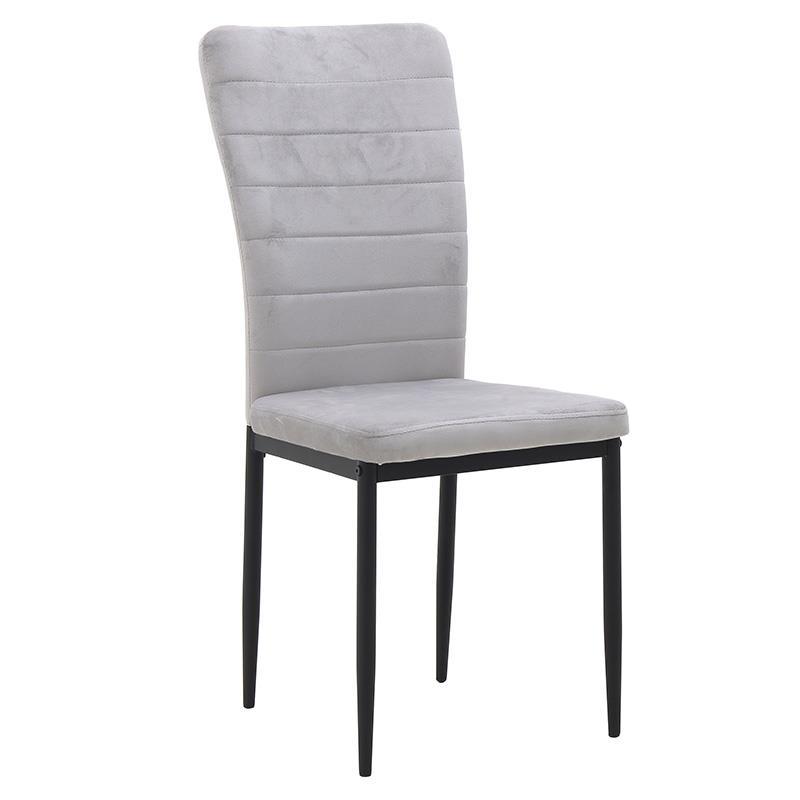 Καρέκλα βελούδινη γκρι 58x42x95cm Inart 3-50-651-0006