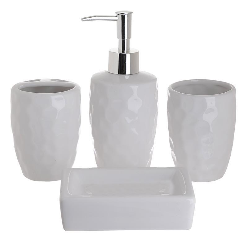 S/4 Σετ Μπάνιου κεραμικό λευκό 21x25x8cm Inart 3-65-146-0001