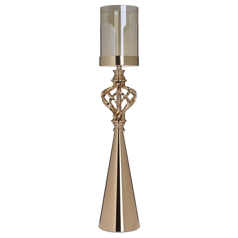 Κηροπήγιο μεταλλικό/γυάλινο χρυσό 11x56cm Inart 3-70-233-0044
