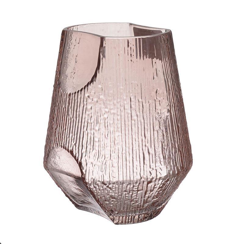 Βάζο διακοσμητικό γυάλινο ροζ 17x17x20cm Inart 3-70-442-0015
