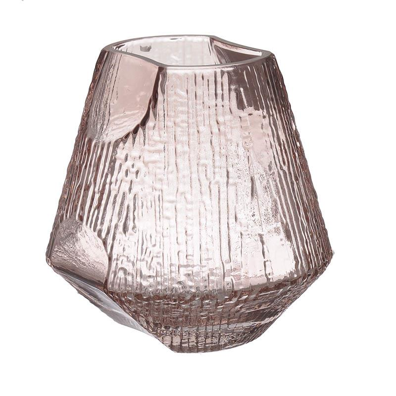 Βάζο διακοσμητικό γυάλινο ροζ 16x16x16cm Inart 3-70-442-0016