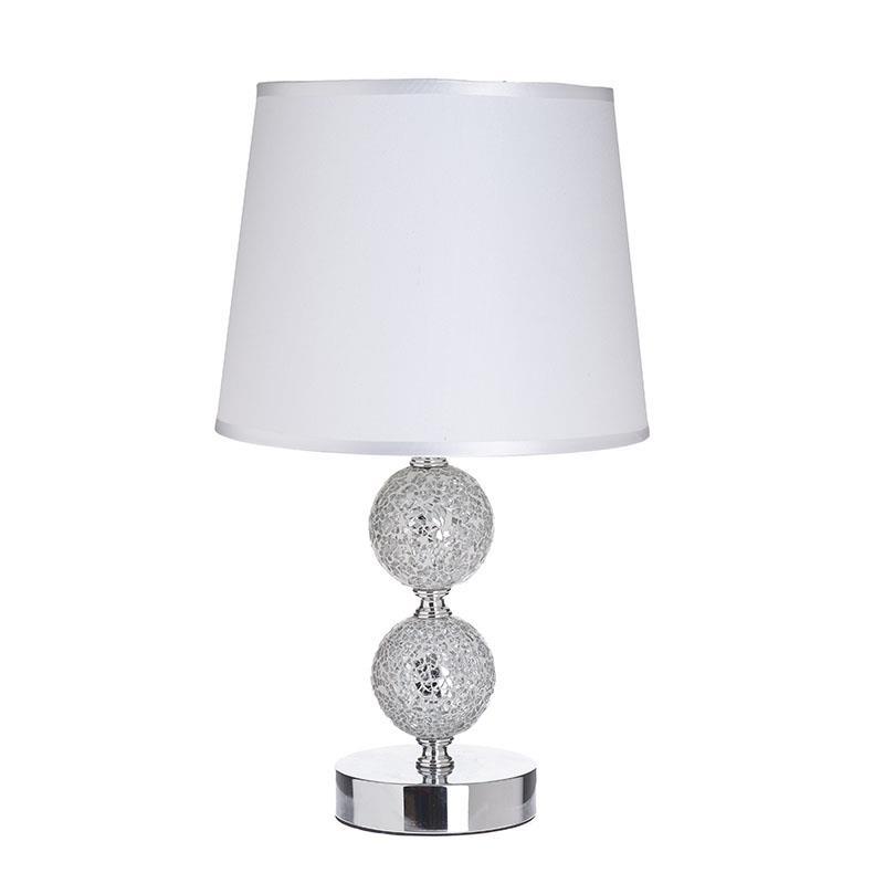 Φωτιστικό επιτραπέζιο μεταλλικό/γυάλινο ασημί/γκρί 23x38cm Inart 3-15-958-0035