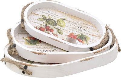 S/3 Δίσκος σερβιρίσματος ξύλινος φρούτα Inart 3-70-480-0039