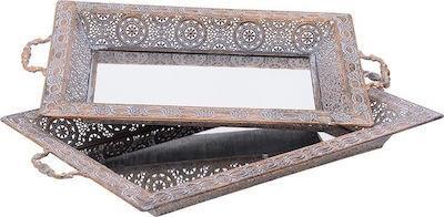 S/2 Δίσκος σερβιρίσματος μεταλλικός/καθρέπτης αντικέ χρυσός Inart 3-70-480-0041