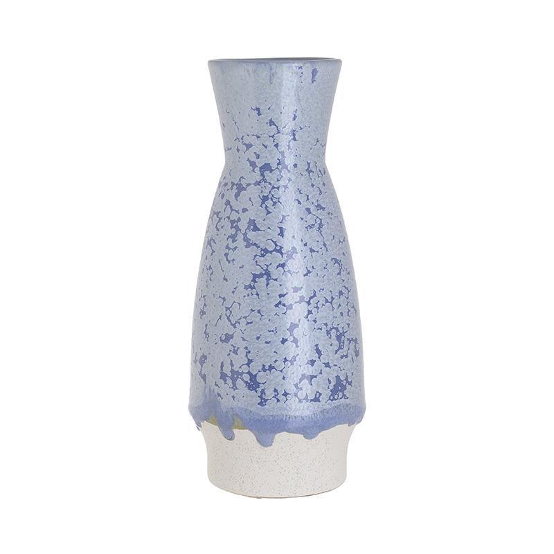 Βάζο διακοσμητικό κεραμικό γαλάζιο/λευκό 12x12x30cm Inart 3-70-663-0285