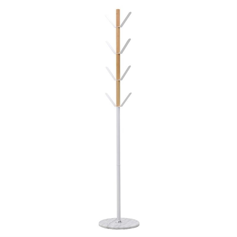 Καλόγερος μεταλλικός/ξύλινος λευκός 35x35x180cm Inart 3-50-227-0009